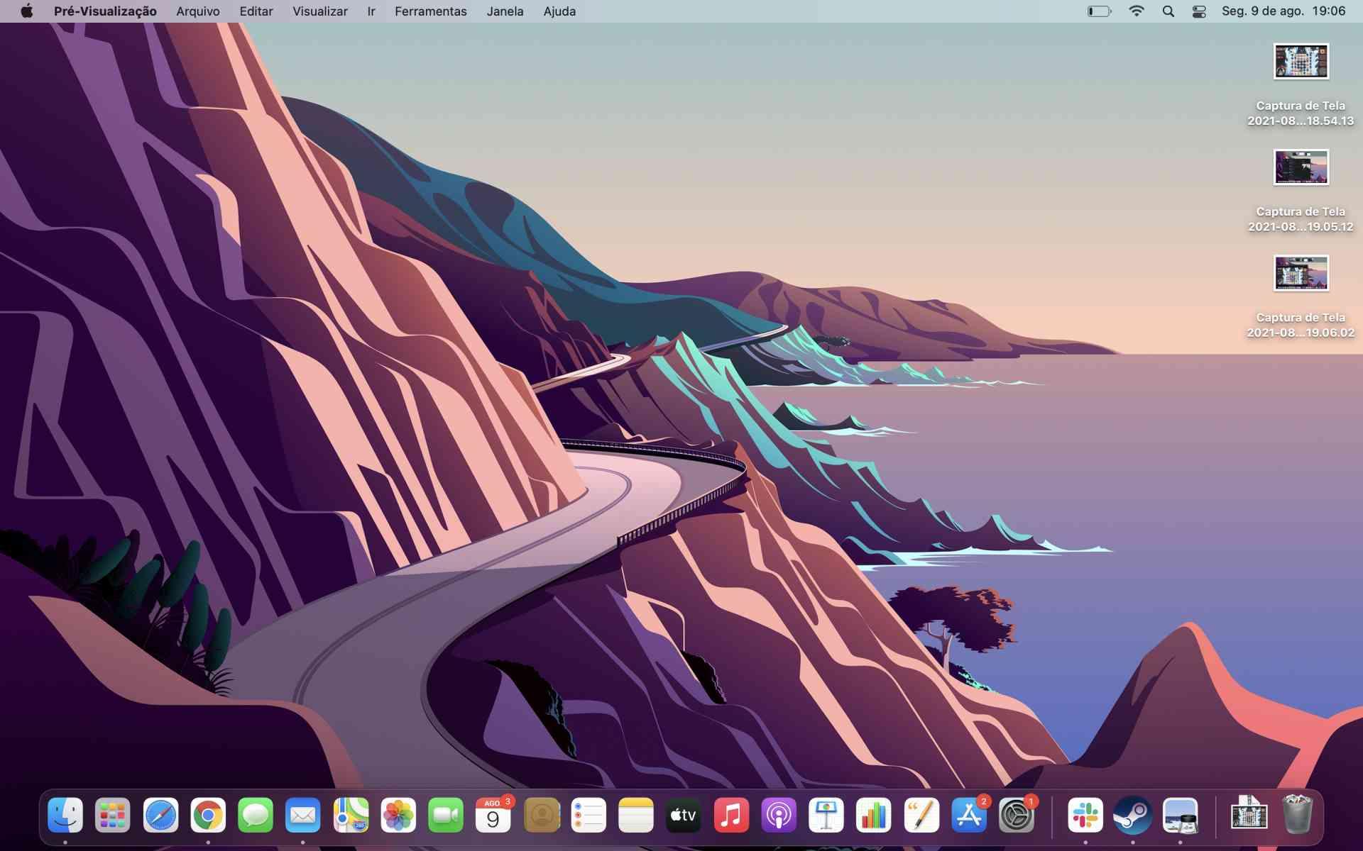 Captura de tela da página inicial do macOS Big Sur