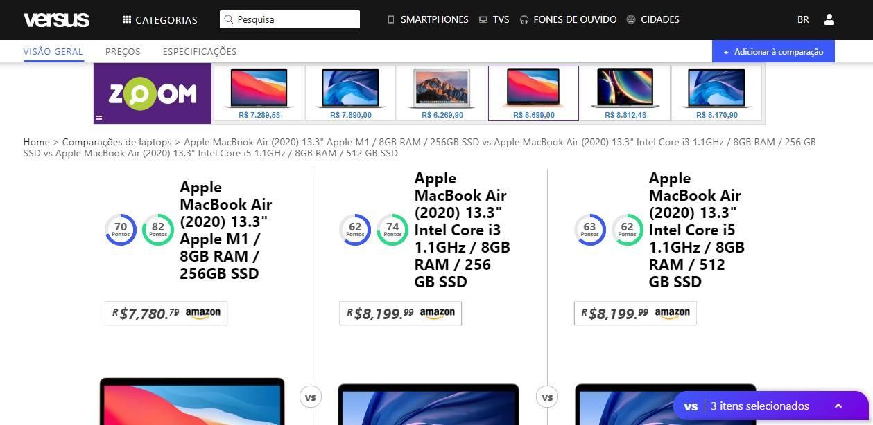 Captura de tela de página do site Versus, mostrando comparativo entre os modelos disponíveis do MacBook Air