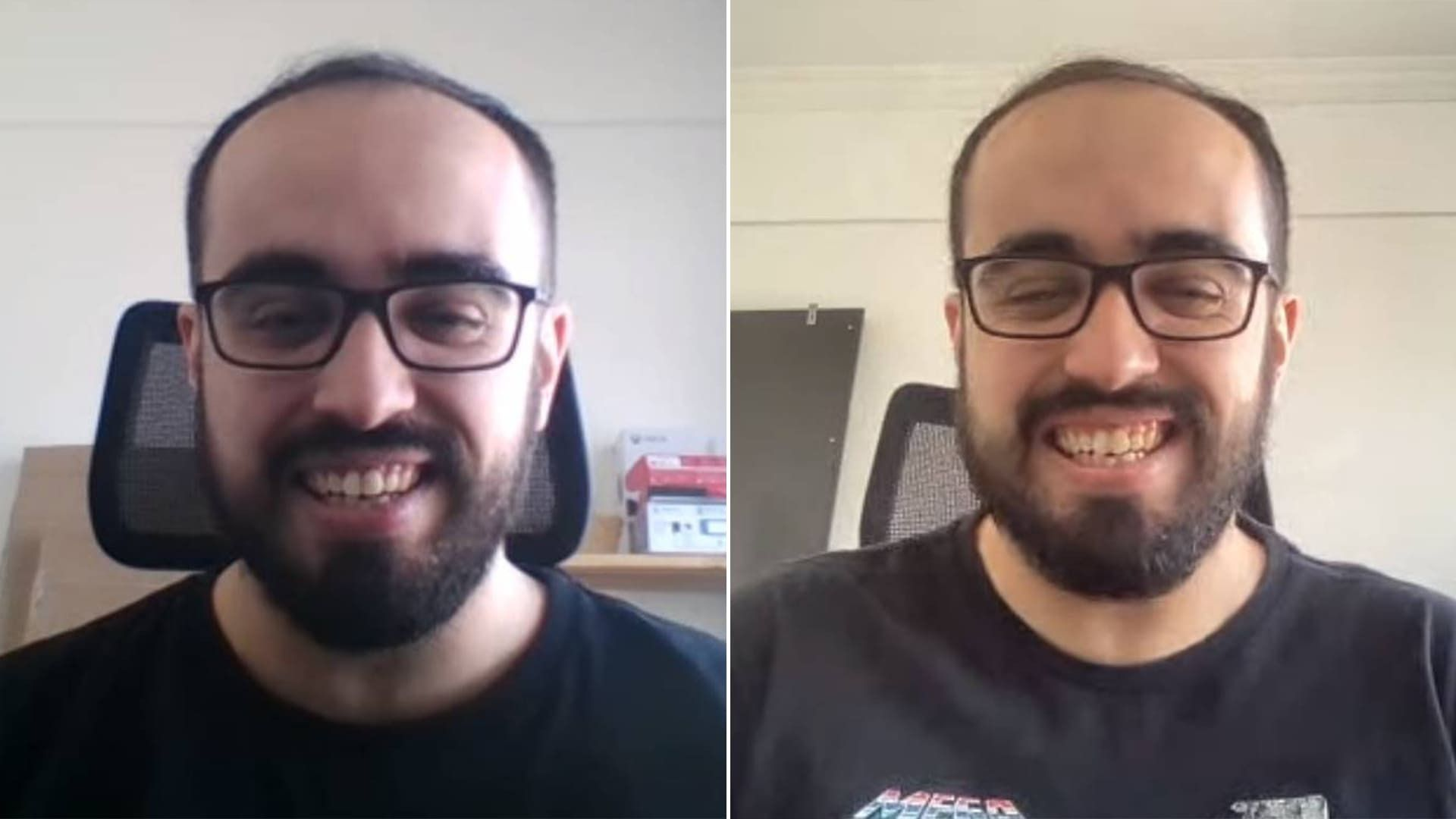 Montagem com duas capturas de tela feita a partir da webcam de dois notebooks diferentes
