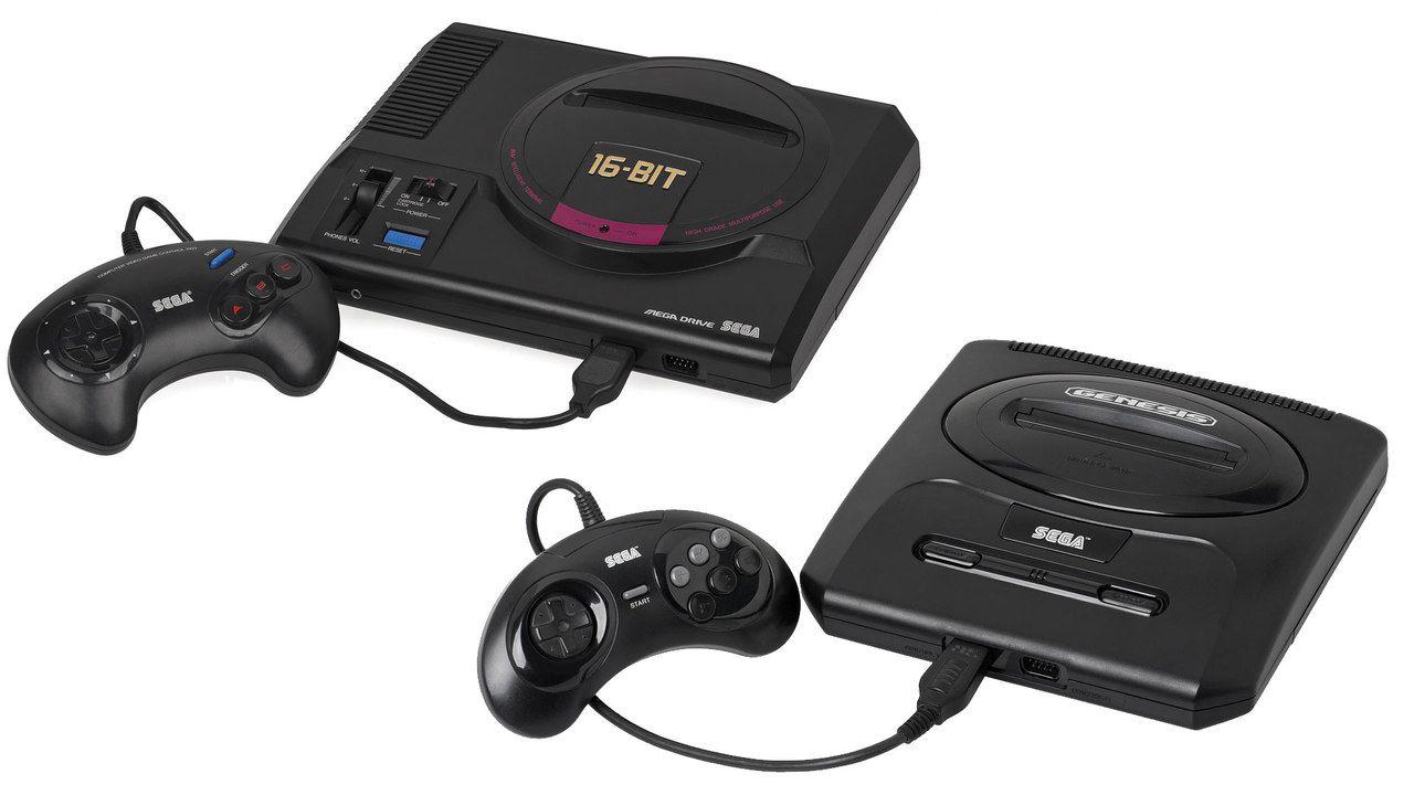 Dois modelos do videogame Mega Drive 1 e 2, com Joysticks de 3 e 6 botões