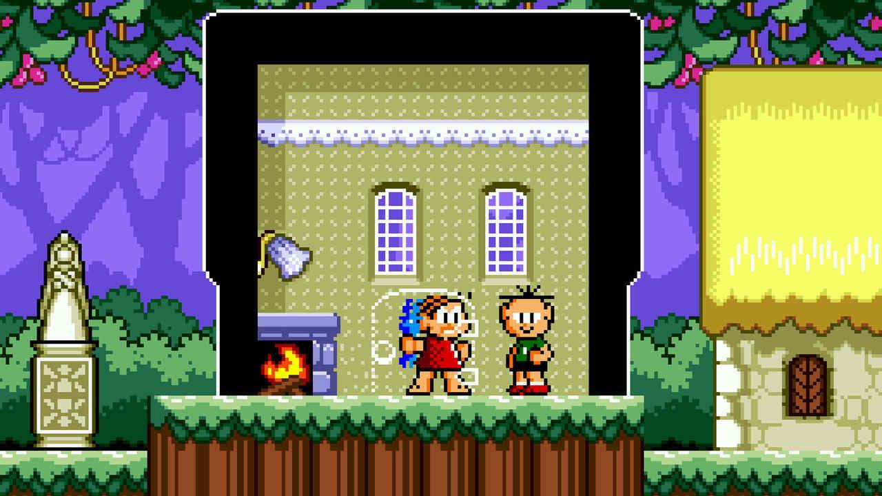 Imagem do jogo Mônica na Terra dos Monstros do Mega Drive com a persoangem Mônica e Cebolinha dentro de uma casa