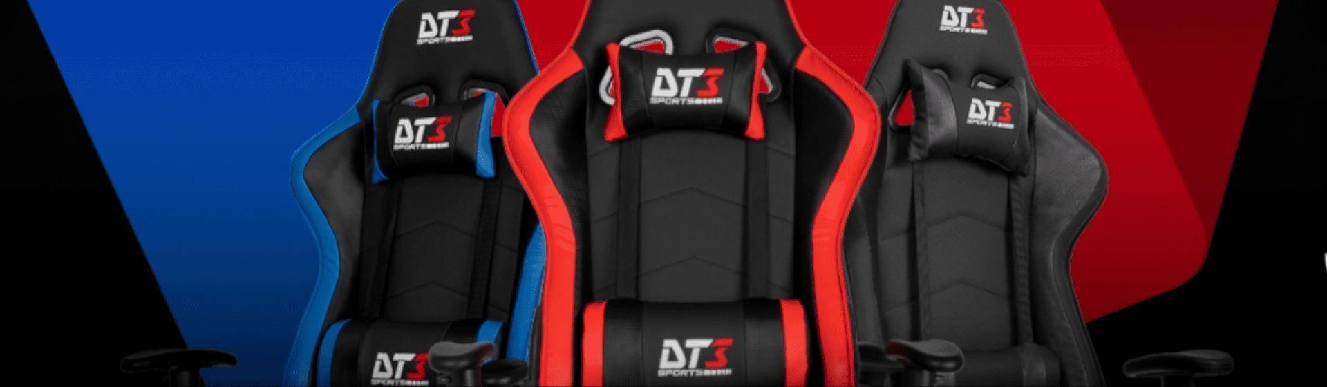 Três cadeiras DT3Sports vistas de frente