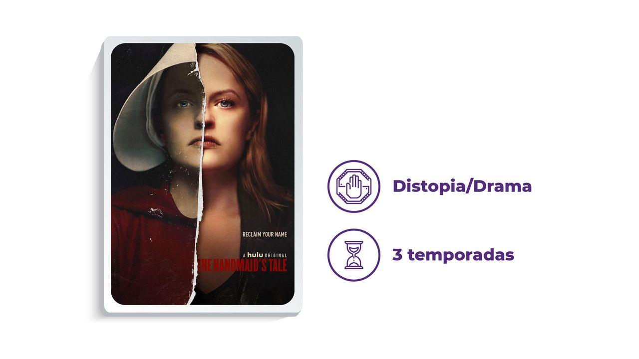 """Cartaz de divulgação da série """"The Handmaid's Tale"""" ao lado dos escritos """"Distopia/Drama"""" e """"3 temporadas"""", tudo em fundo branco."""