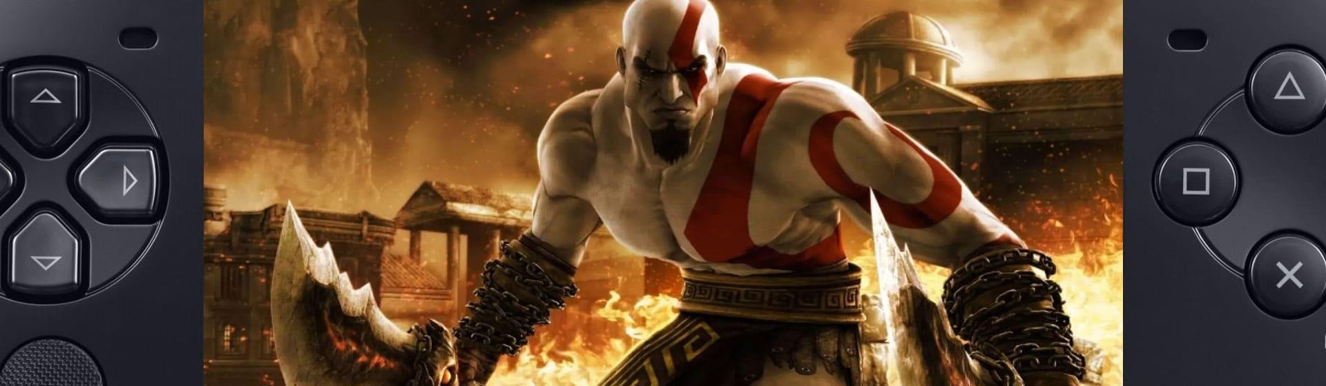 Controles de PSP com Kratos, do jogo God of War ao fundo