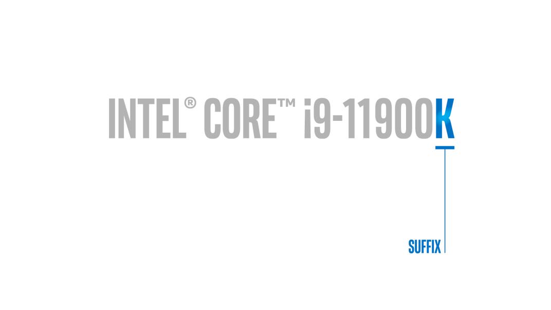 """Intel Core i9-11900K escrito em cinza com a letra """"K"""" em azul"""