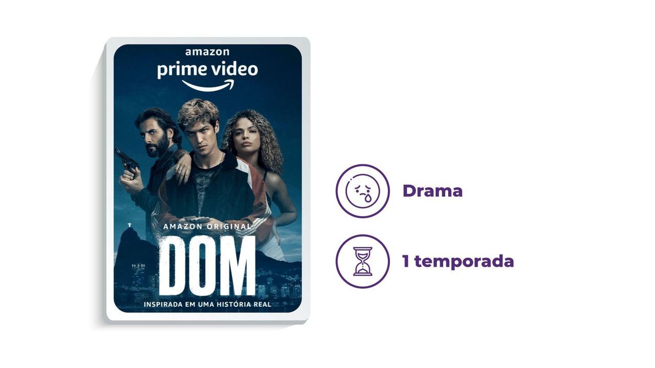"""Cartaz de divulgação da série """"Dom"""" ao lado dos escritos """"Drama"""" e """"1 temporada"""", tudo em fundo branco."""