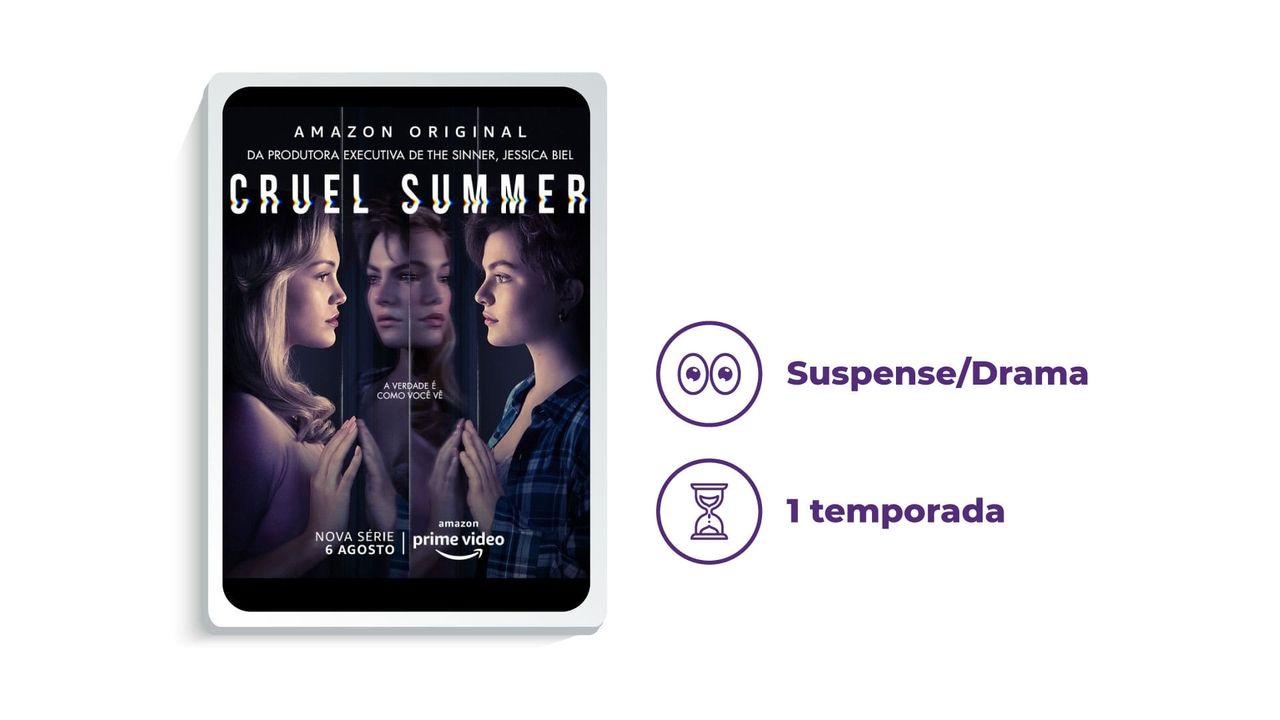 """Cartaz de divulgação da série """"Cruel Summer"""" ao lado dos escritos """"Suspense/Drama"""" e """"1 temporada"""", tudo em fundo branco."""