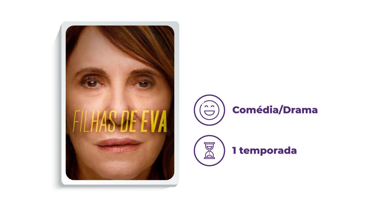 """Cartaz de divulgação da série """"Filhas de Eva"""" ao lado dos escritos """"Comédia/Drama"""" e """"1 temporada"""", tudo em fundo branco."""