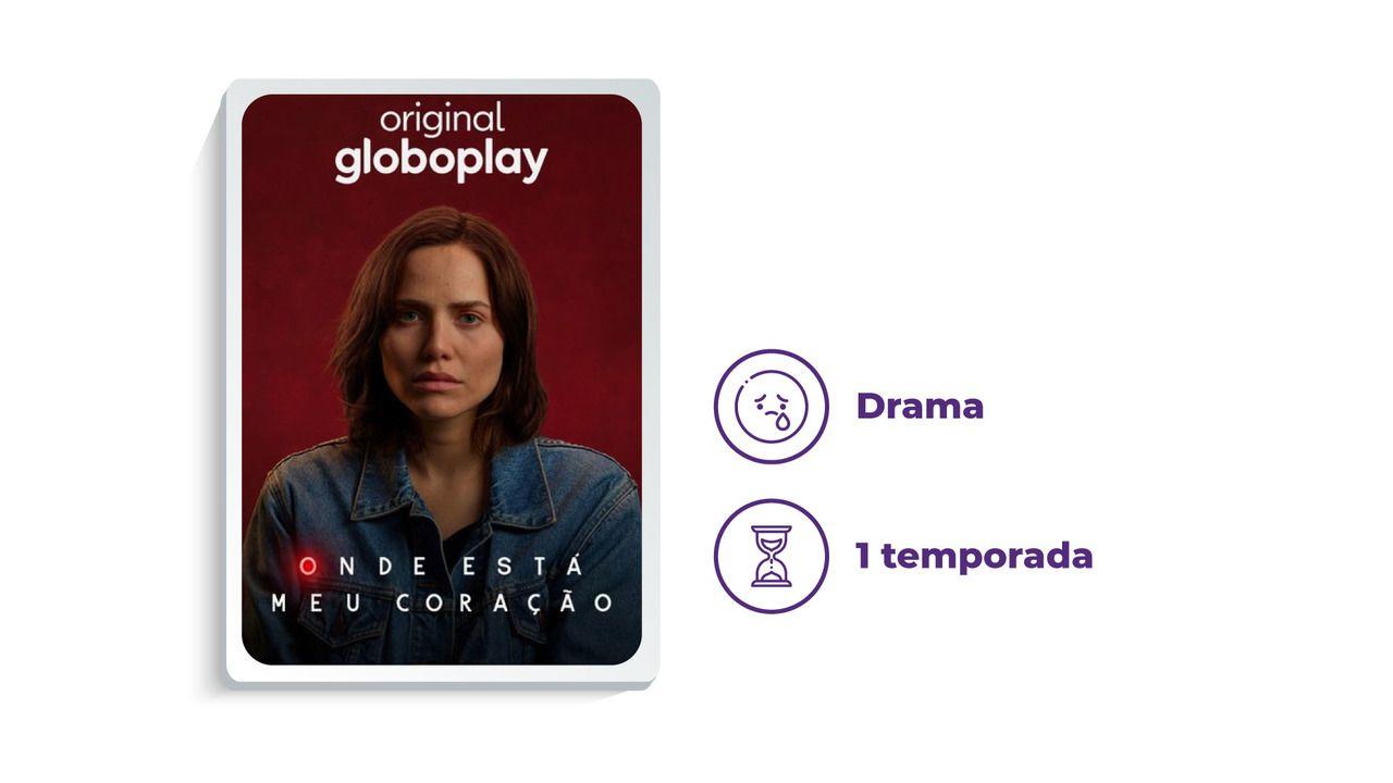 """Cartaz da série """"Onde Está Meu Coração"""" ao lado dos escritos """"Drama"""" e """"1 temporada"""", tudo em fundo branco."""
