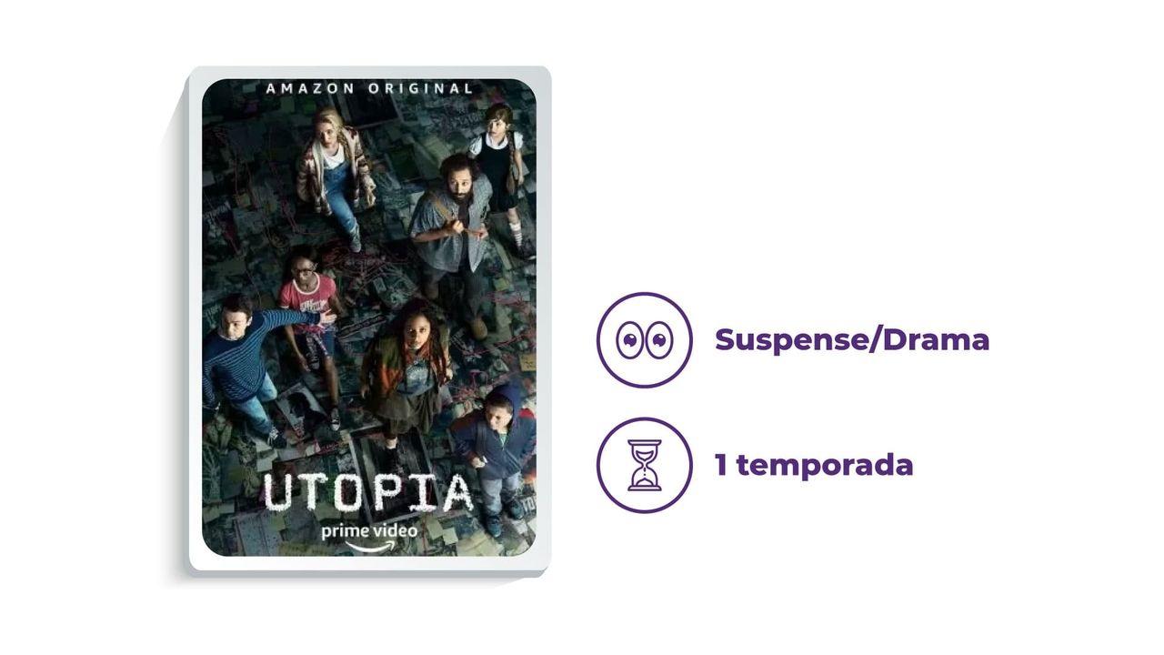 """Banner da série """"Utopia"""" ao lado dos escritos """"Suspense/Drama"""" e """"1 temporada"""", tudo em fundo branco."""