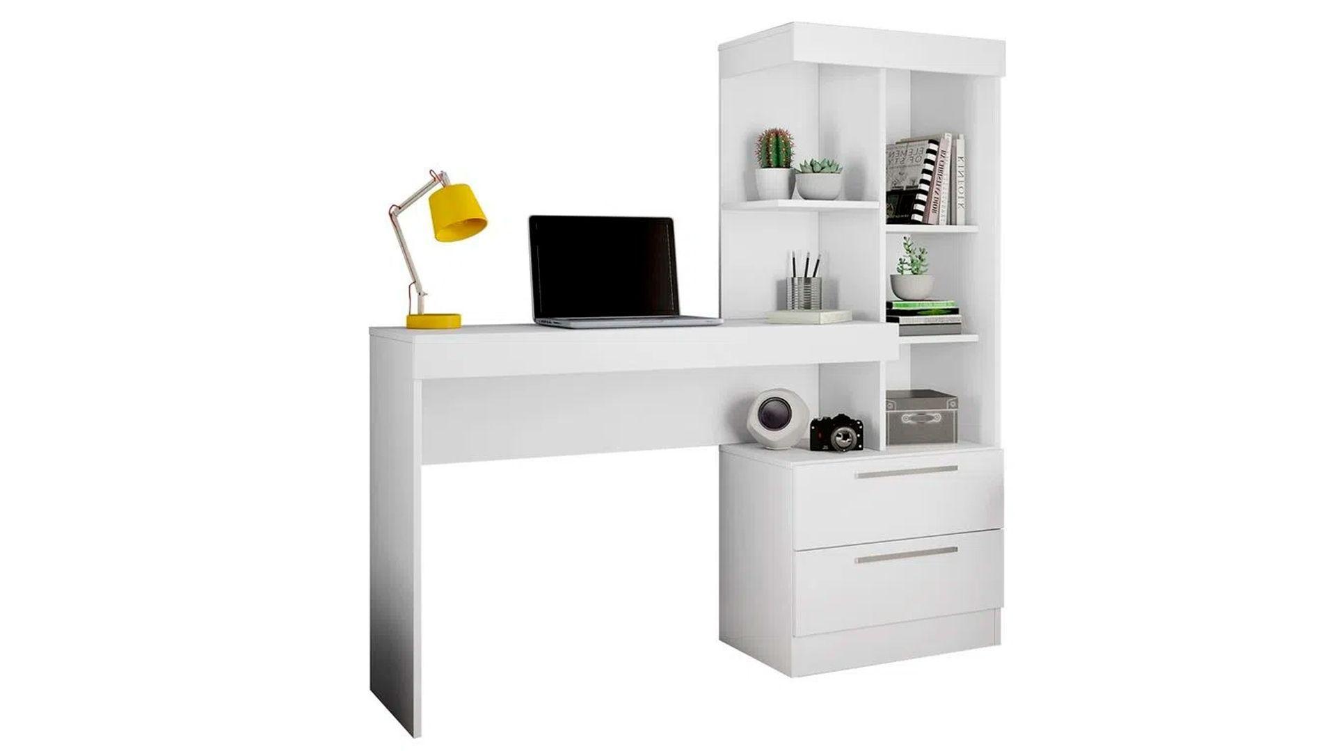 Mesa para computador Escrivaninha com Estante Office 2 Gavetas Branco / Branco / Rosa NT2010 em fundo branco