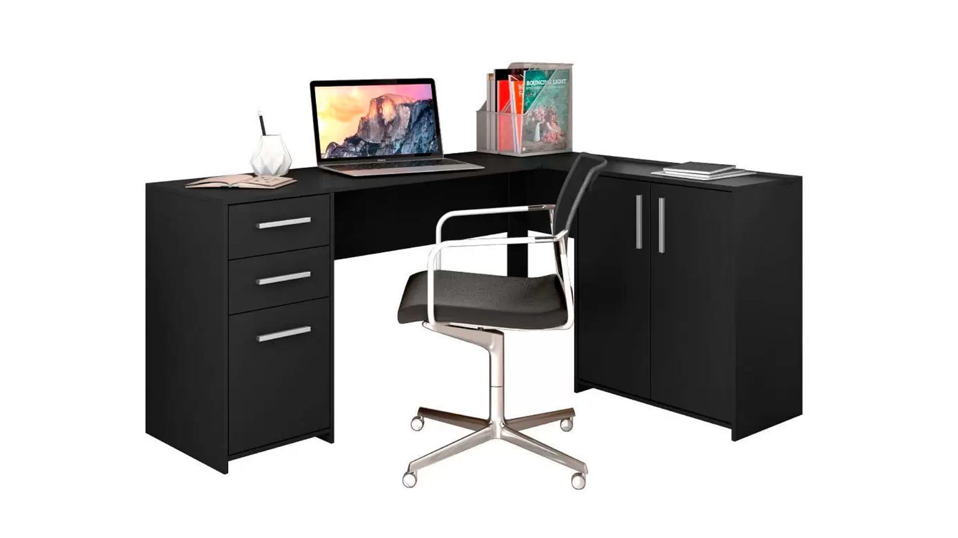 Mesa para computador em L 2 Gavetas Office Notável Preto em fundo branco
