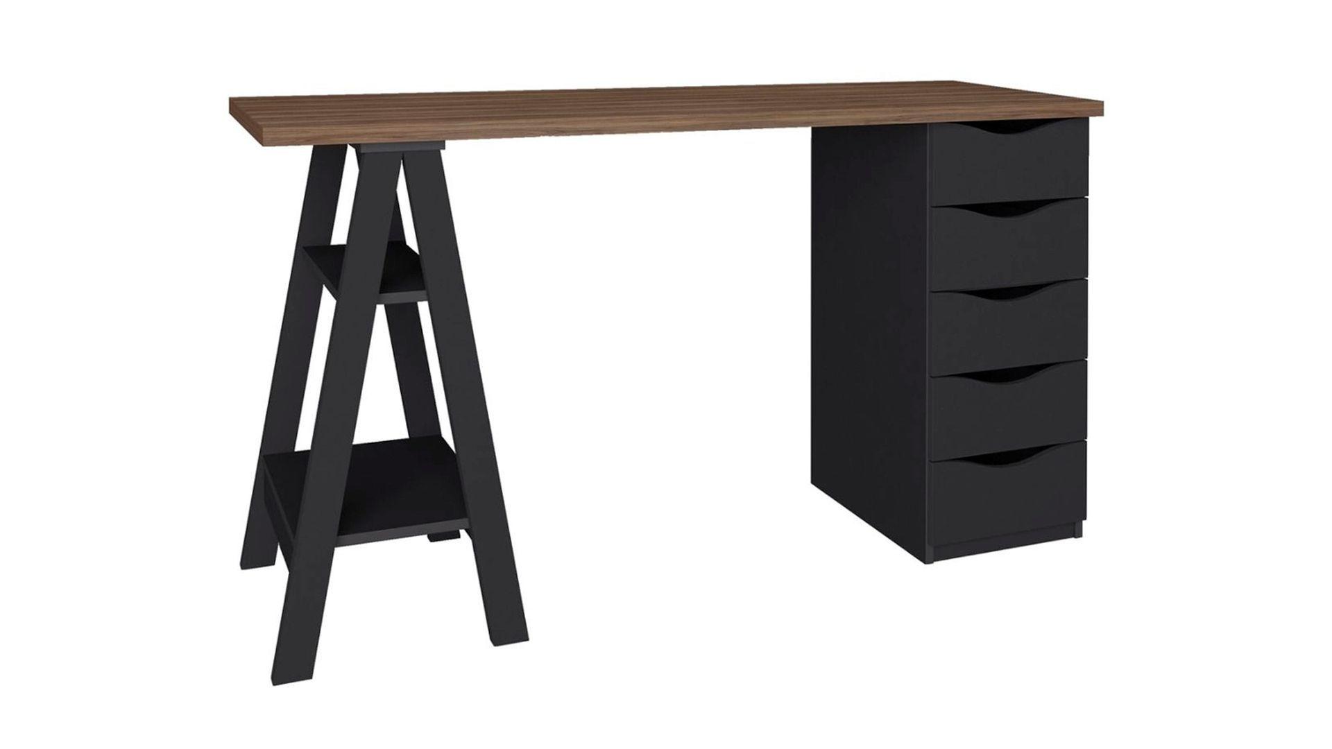 Mesa para computador Escrivaninha Spirit Ii 5 Gavetas NogalPreto em fundo branco