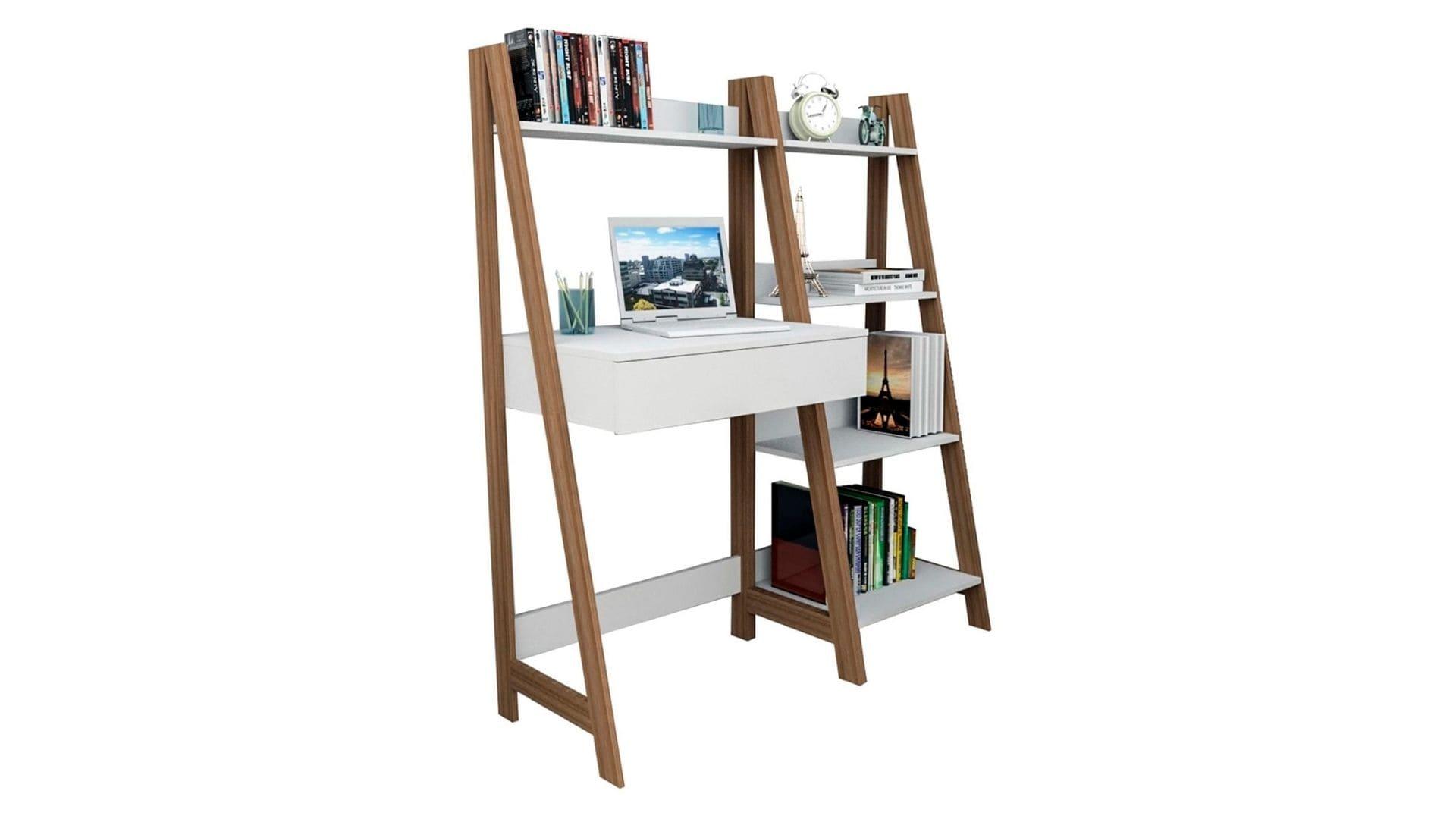 Mesa para computador Escrivaninha Urban 1 Gaveta branca com laterais em madeira