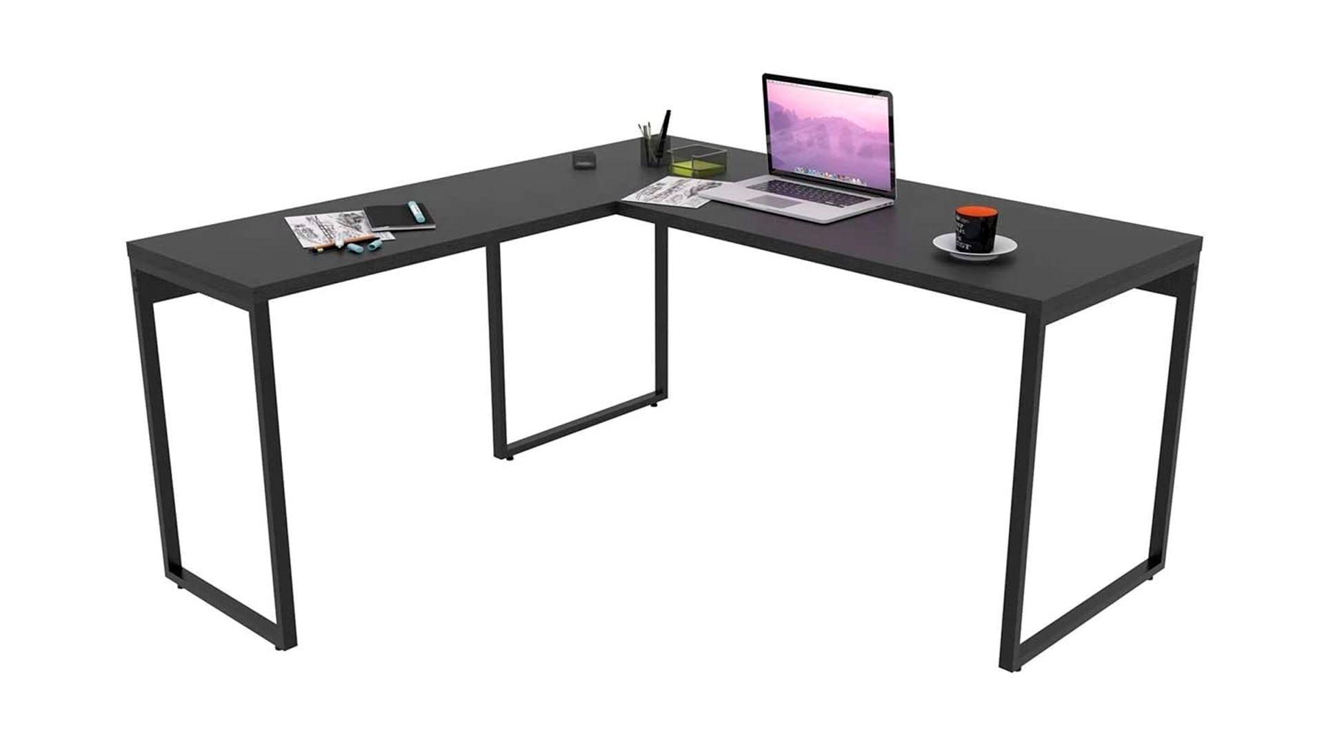 Mesa para computador Trevalla Kuadra preta em fundo branco