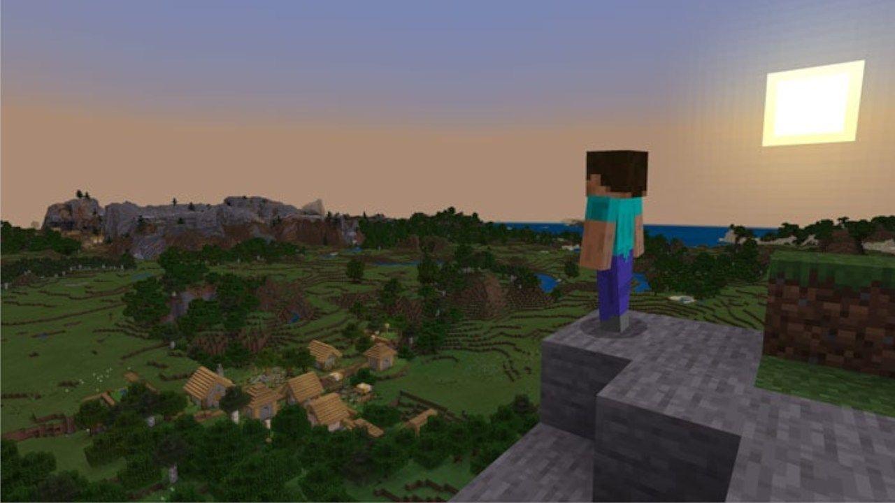 Cena do jogo Minecraft com personagem de costas na frente e uma vila e a floresta ao fundo