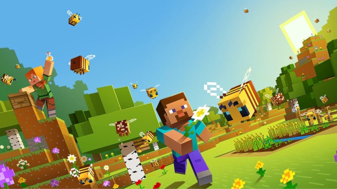 Cena de divulgação de Minecraft, com dois personagens, um campo florido e abelhas