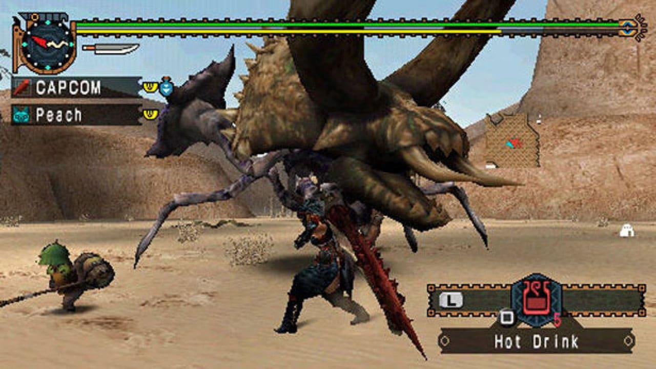 Batalha entre personagem e monstro de Monster Hunter Freedom Unite