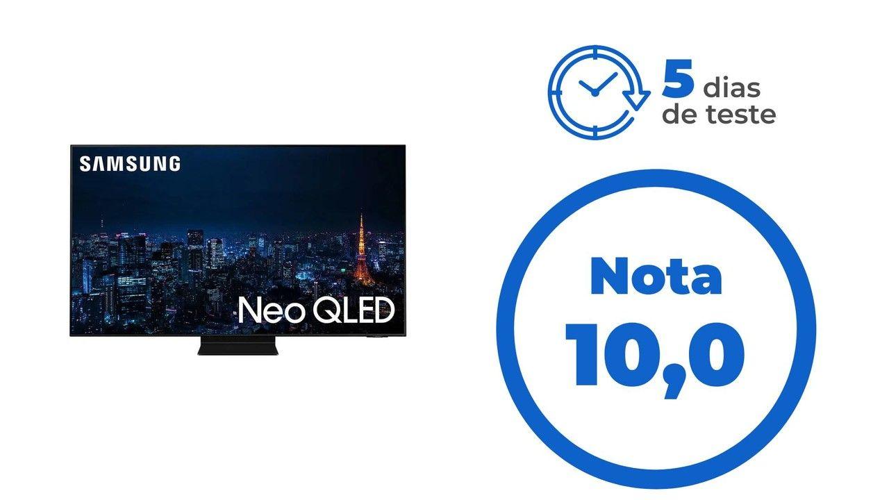 """Imagem da TV QN90A. Ao lado, o texto: """"5 dias de teste"""" e abaixo: """"Nota 10"""""""
