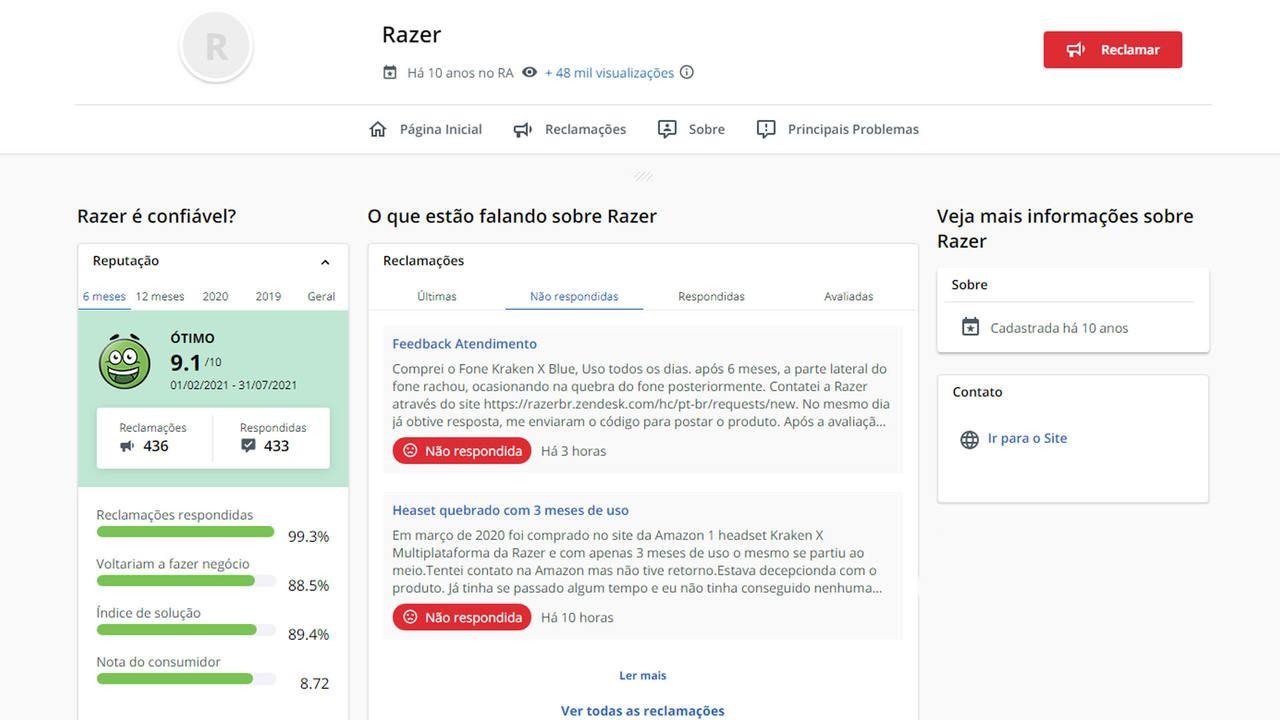 Captura de tela do site Reclame Aqui onde mostra a nota da Razer