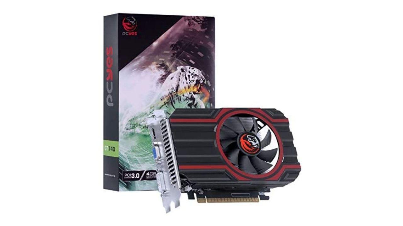 Placa de vídeo barata Nvidia GT 740 no fundo branco