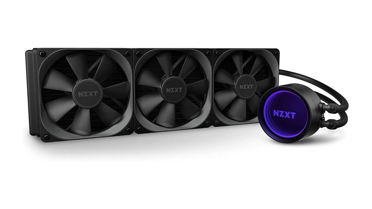 Water cooler 360mm NZXT Kraken X73 preto no fundo branco