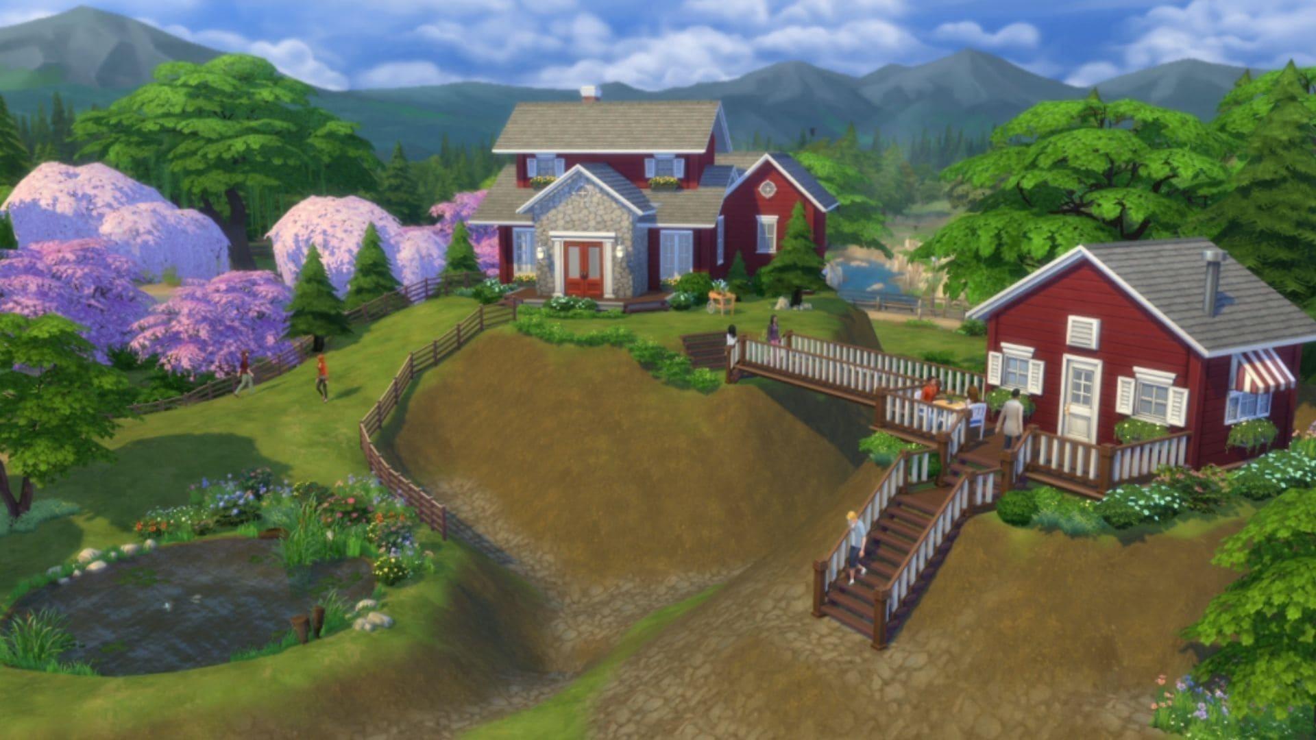 Cenário de The Sims 4 com duas casas em uma colina
