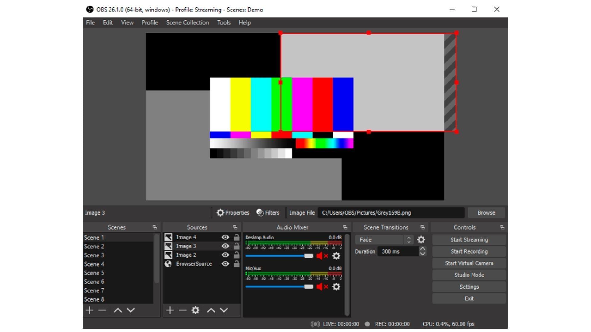 Captura do gravador de tela OBS Studio