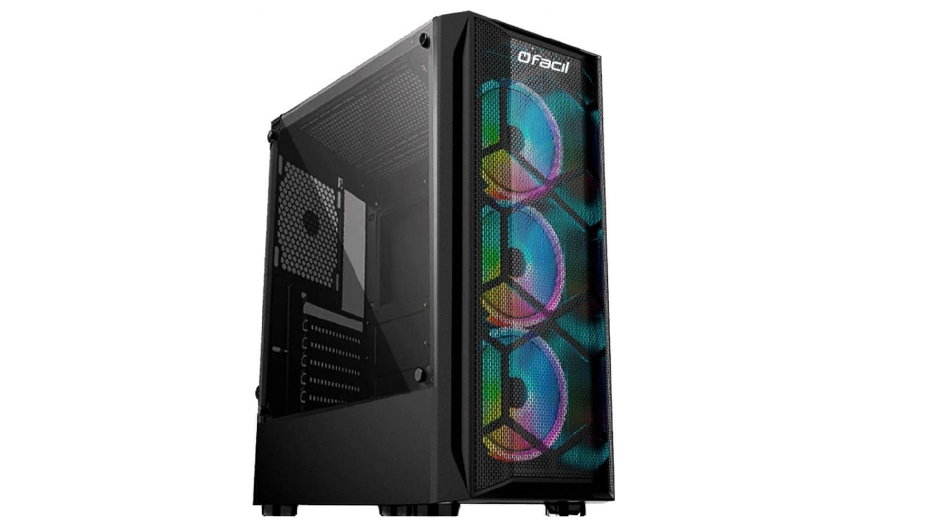 PC Gamer barato Fácil by Asus preto com RGB na parte frontal em fundo branco