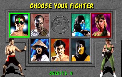 Tela de seleção do primeiro Mortal Kombat