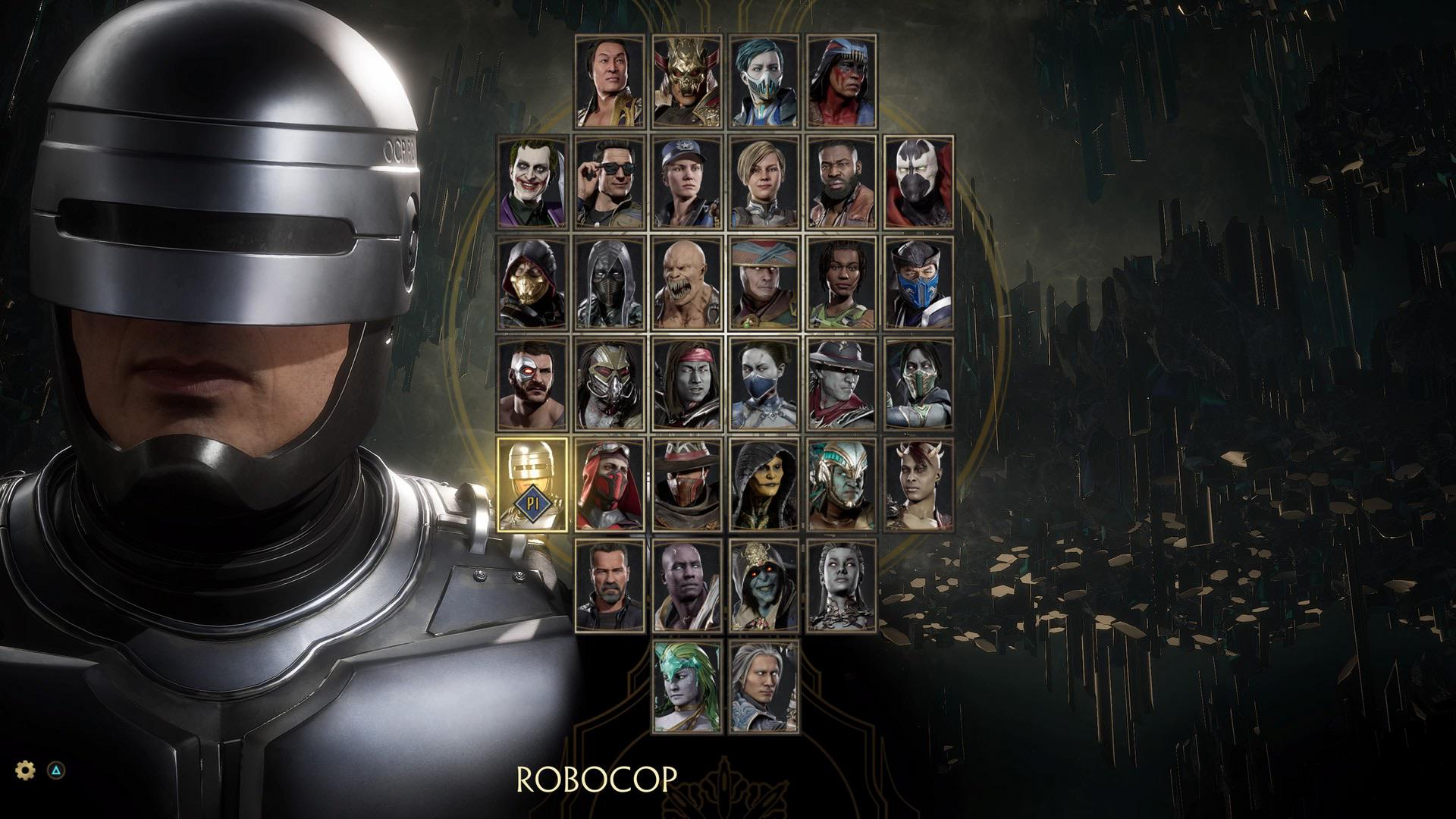 Tela de seleção de personagens em Mortal Kombat 11