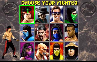 Tela de personagens Mortal Kombat 2