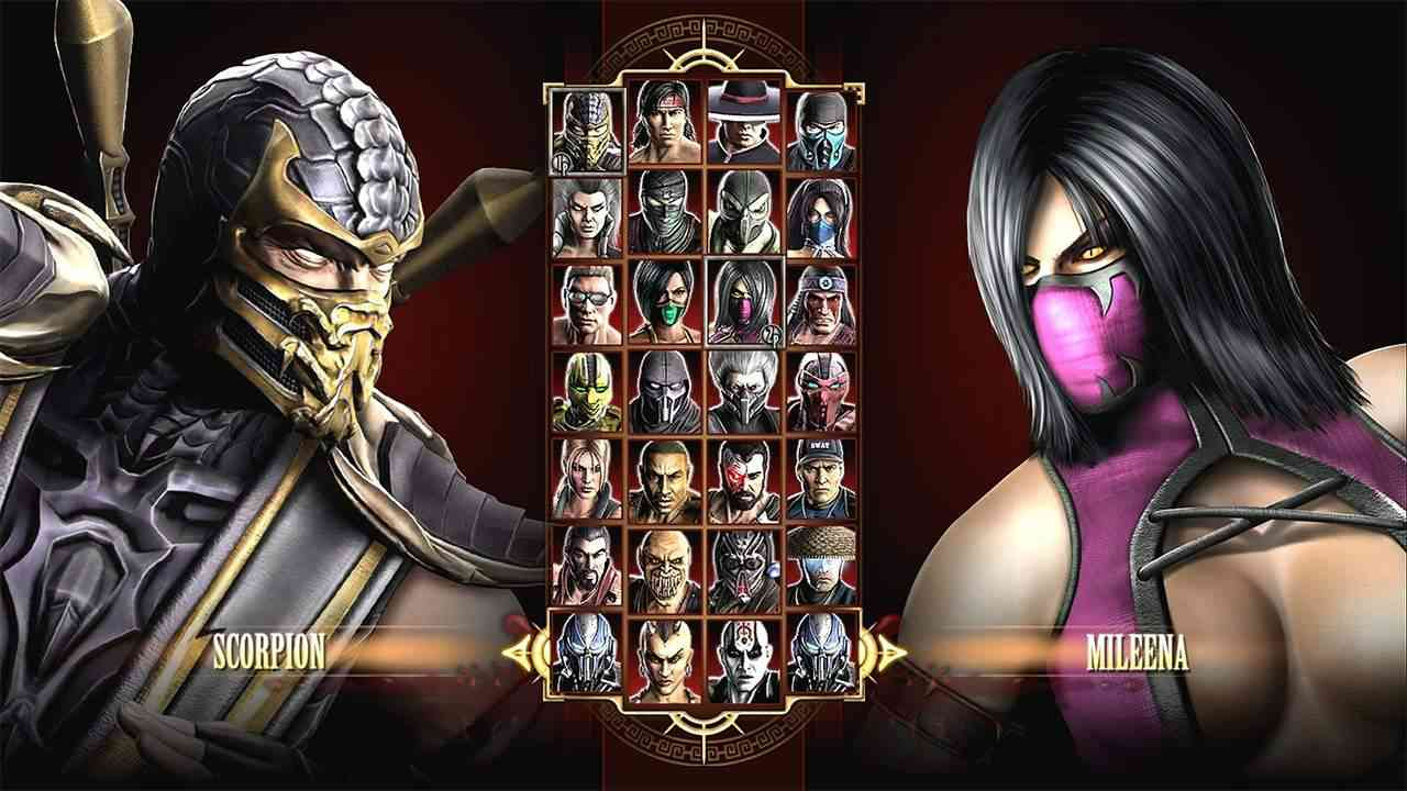Tela de seleção de personagens em Mortal Kombat (2011)
