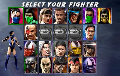 Tela de seleção de personagens em Ultimate Mortal Kombat 3