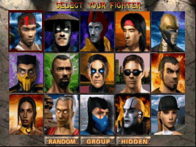 Tela de seleção de personagens Mortal Kombat 4
