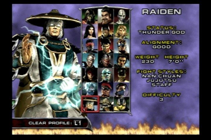 Tela de seleção de personagens Mortal Kombat: Deadly Alliance