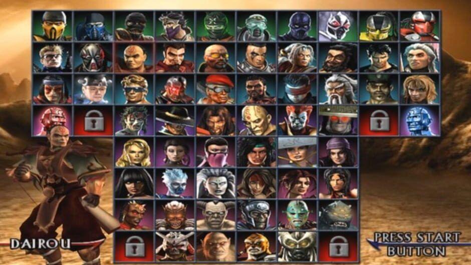 Tela de seleção de personagens Mortal Kombat: Armaggedon