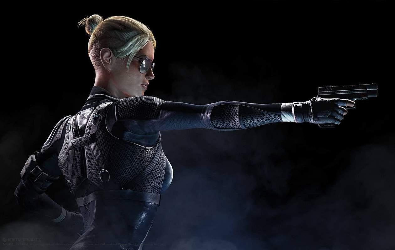 Ilustração mostrando a personagem Cassie Cage de lado apontando uma pistola