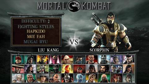 Tela de seleção de personagens Mortal Kombat Deception