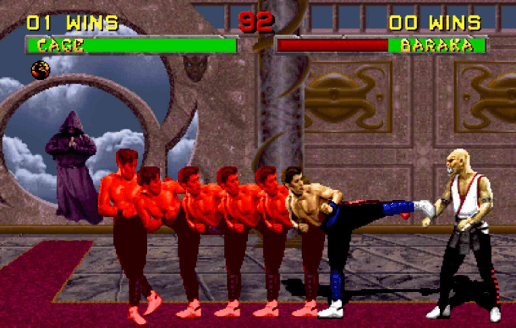 Captura de tela do jogo Mortal Kombat 2 mostrando uma luta entre Johnny Cage e Baraka