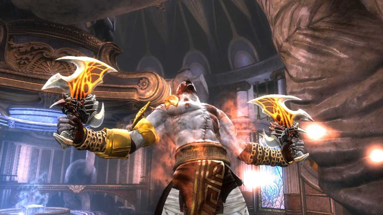 Captura de tela de Mortal Kombat (2011) mostrando Kratos gritando para o alto com armas empunhadas