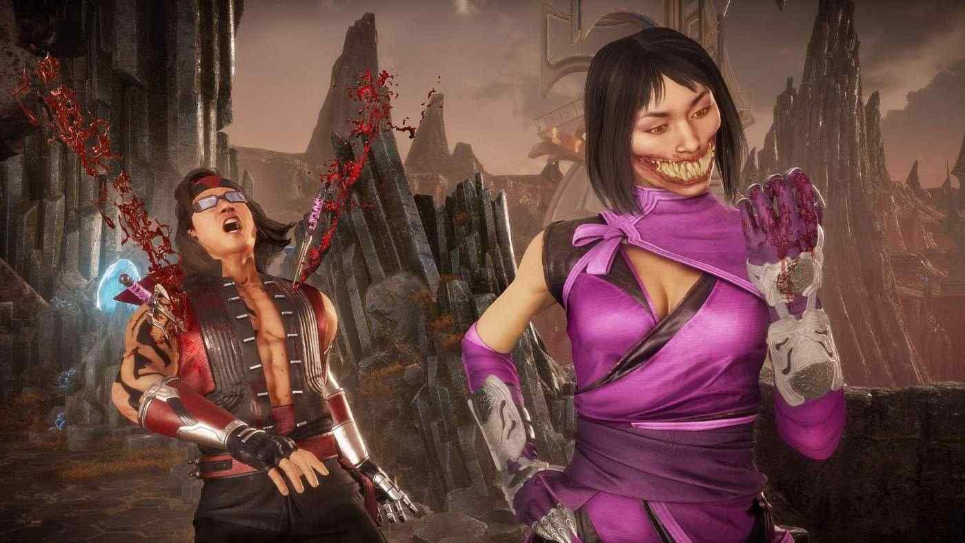 Captura de tela do jogo Mortal Kombat 11 mostrando Mileena executando um Fatality em Liu Kang