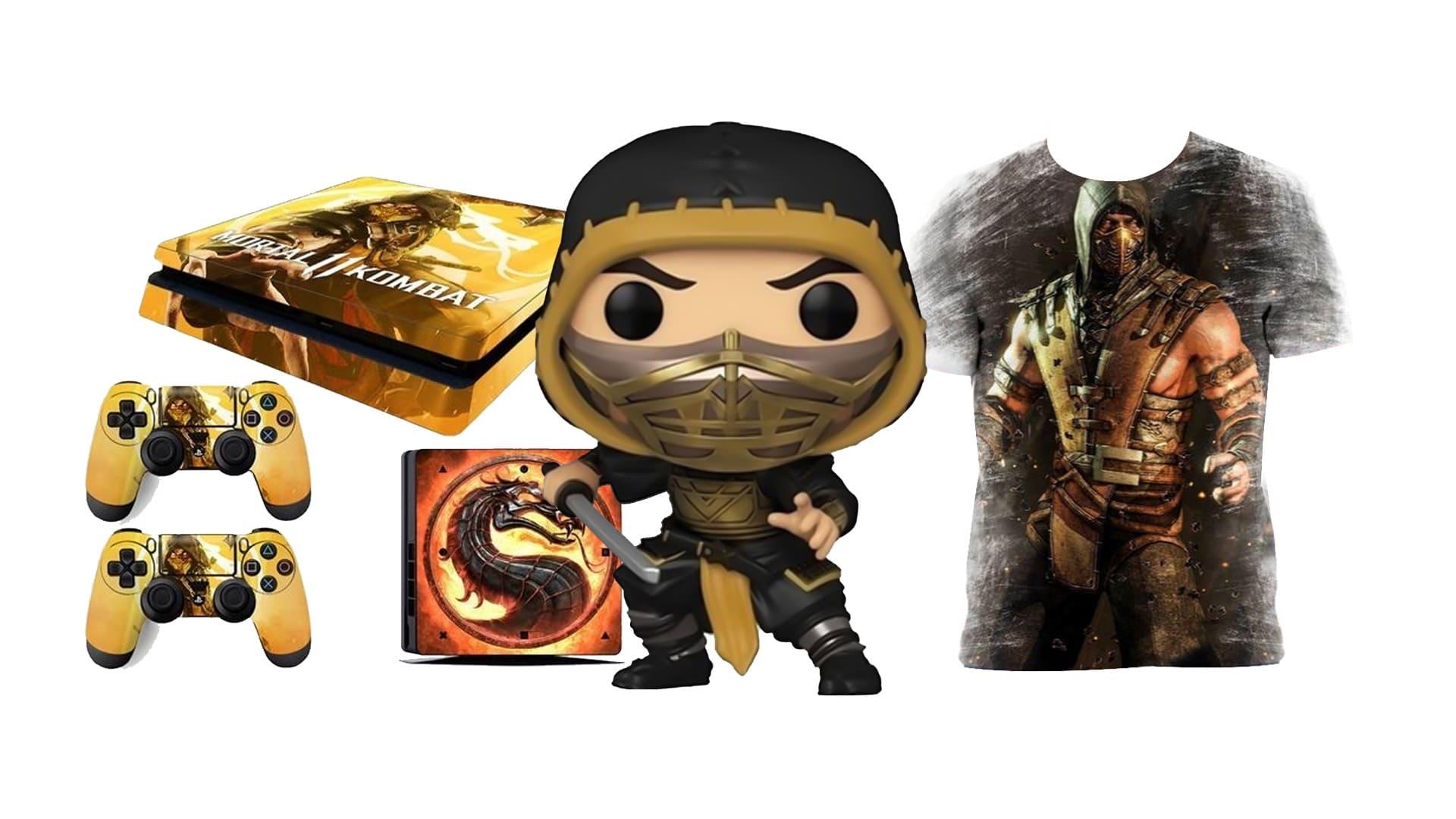 Montagem com diversos produtos sobre o ninja amarelo de Mortal Kombat, Scorpion