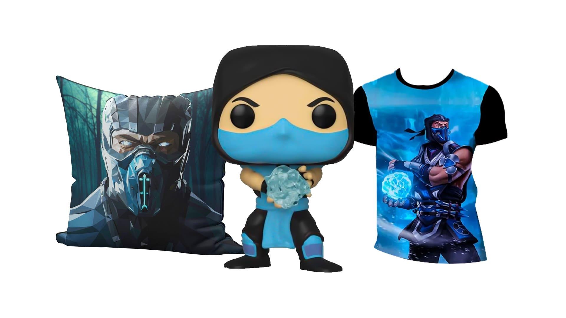 Montagem com diversos produtos do Sub-Zero de Mortal Kombat