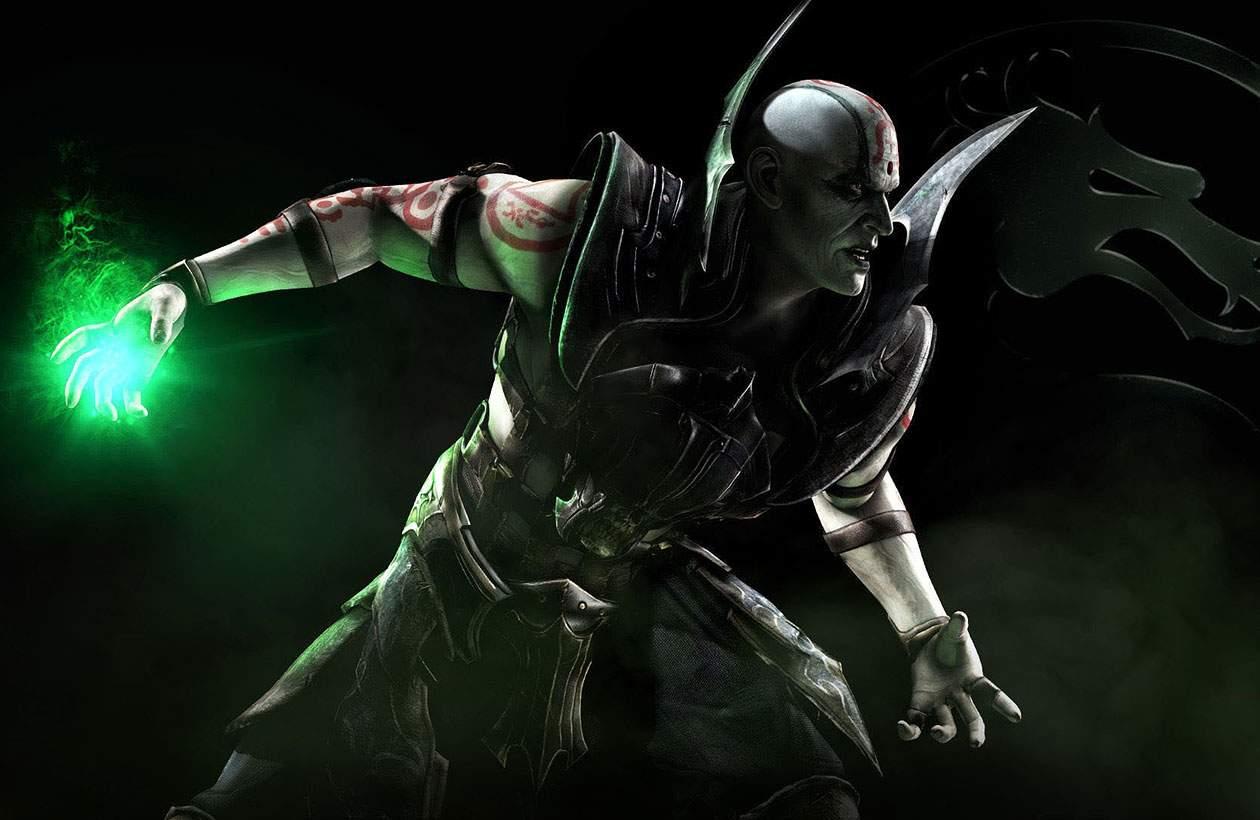 Ilustração do personagem Quan Chi em Mortal Kombat X em pose de combate iniciando uma magia