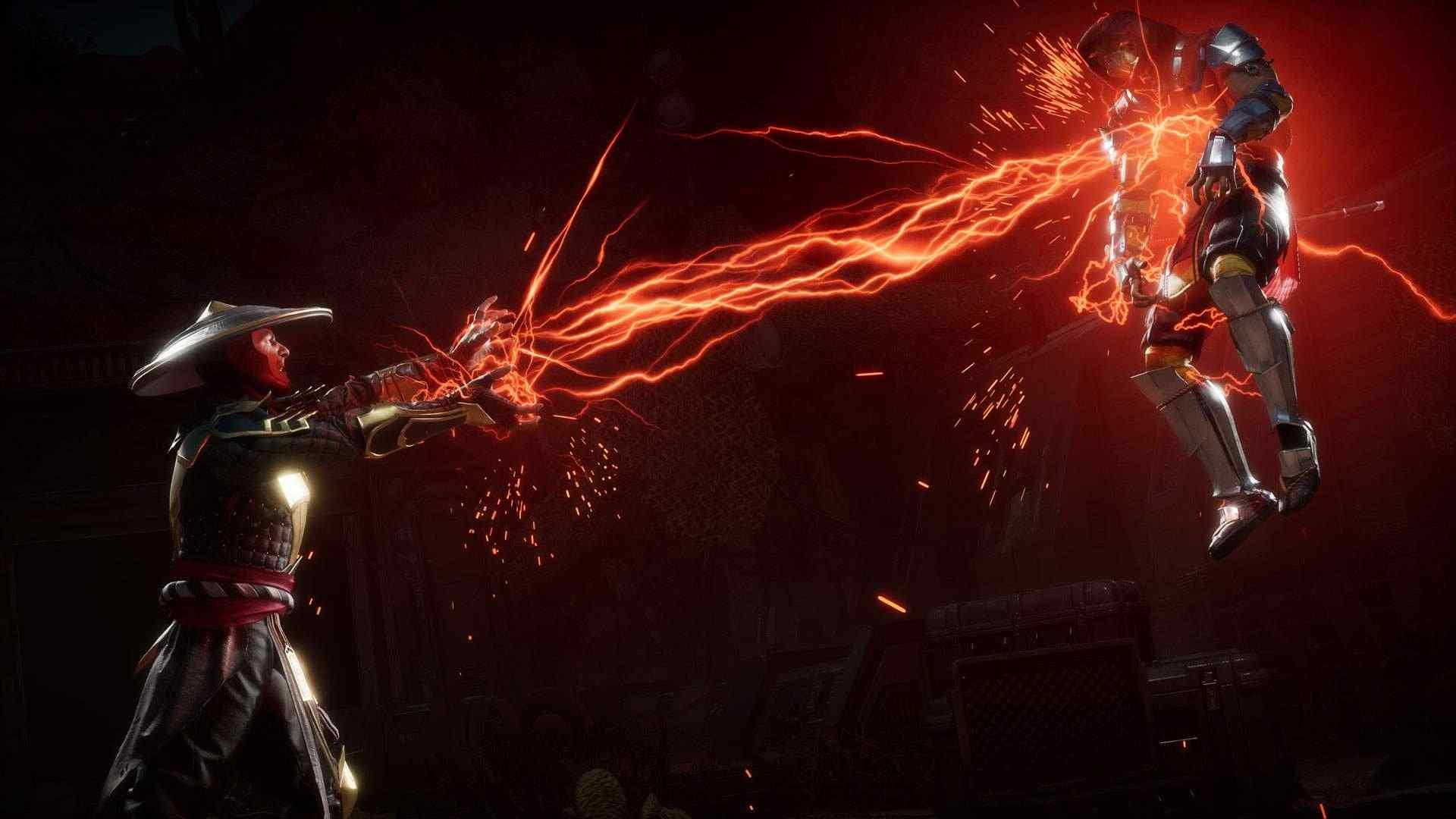 Captura de tela do jogo Mortal Kombat 11 mostrando o personagem Raiden soltando raios vermelhos em Scorpion