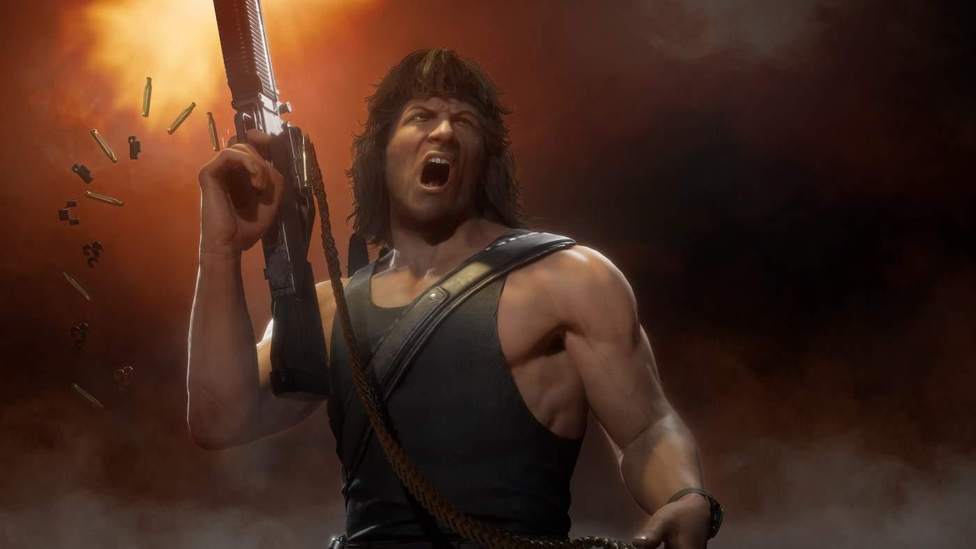 Ilustração de Mortal Kombat 11 mostrando o personagem convidado John Rambo atirando para cima com uma metralhadora enquanto grita