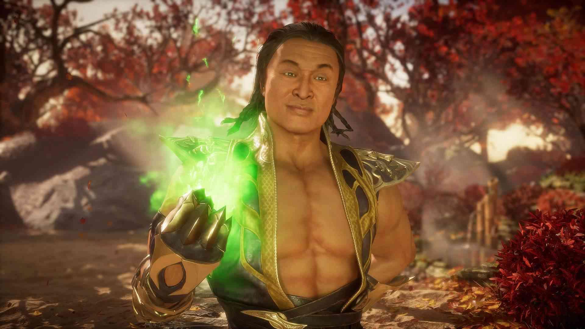 Captura de tela do jogo Mortal Kombat 11 mostrando o personagem Shang Tsung em um campo com árvores de folhas vermelhas