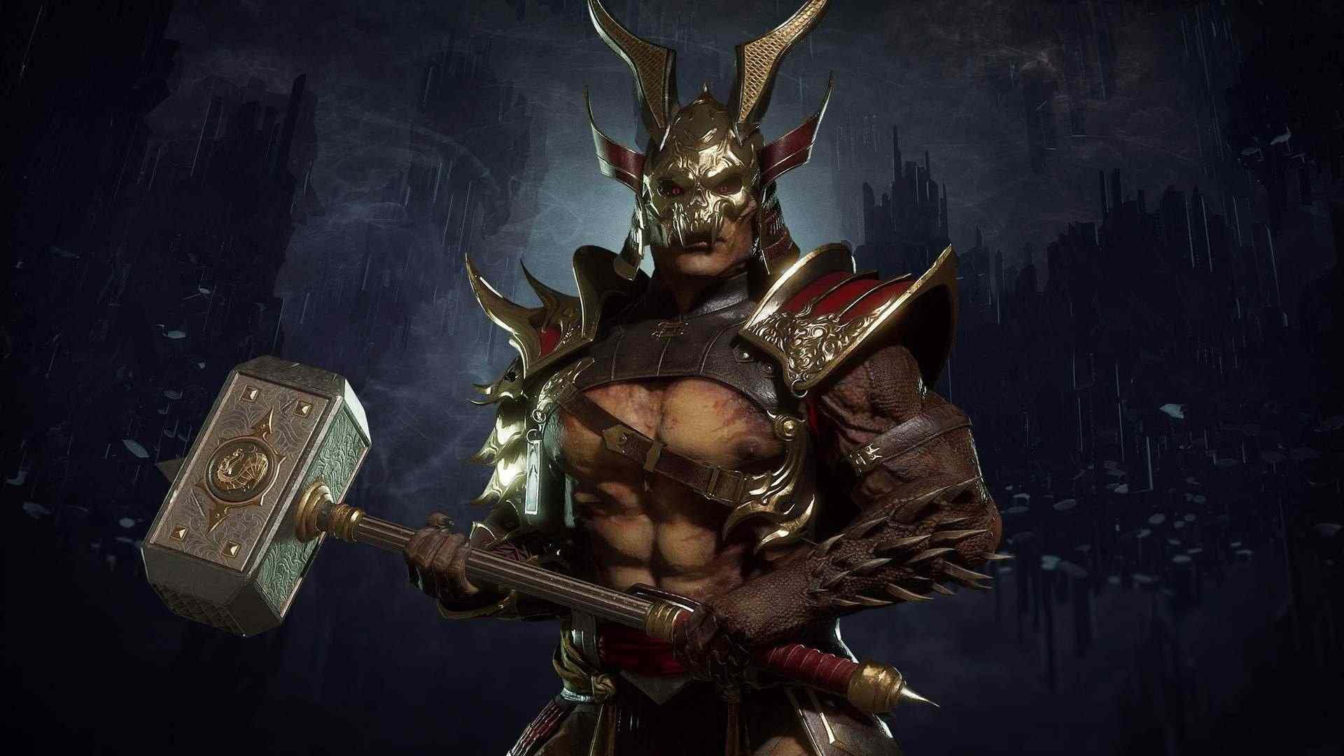 Ilustração do jogo Mortal Kombat 11 com fundo enegrecido e Shao Kahn no centro