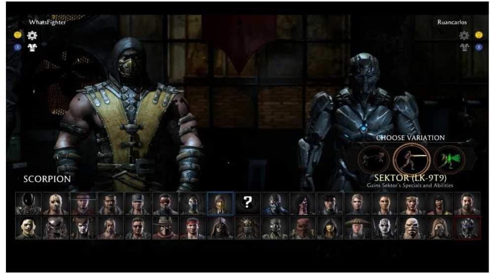 Tela de seleção de personagens em Mortal Kombat X